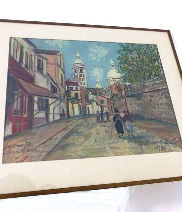 Lithographie Repro Tableau UTRILLO Montmartre Le Sacré Coeur