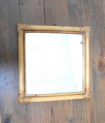 miroir carré en rotin