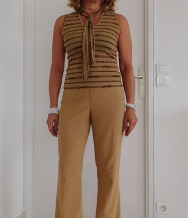 Pantalon fendu chic beige