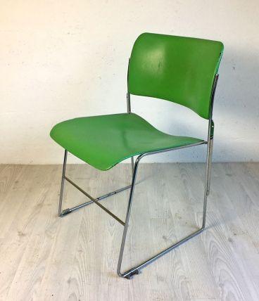 Chaise 40/4 vertes par David Rowland pour General Fireproofi