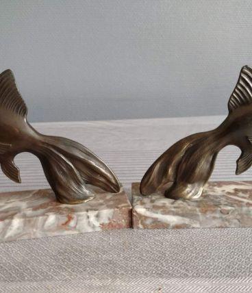 serre-livres poissons bronze et marbre art déco