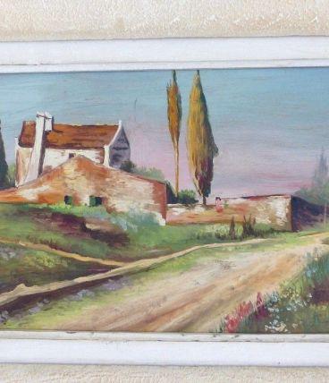 Ancien Tableau Mas Provençal Peinture Huile signée