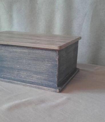 boites en bois patine bleue
