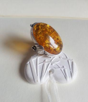 Bague Art Nouveau en ambre et argent taille 54