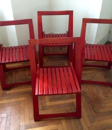 Série de quatre chaises pliantes d'Aldo Jacober vintage