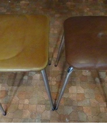 2 tabourets vintage skai marron