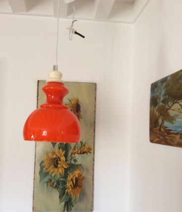 Suspension orange vintage en opaline