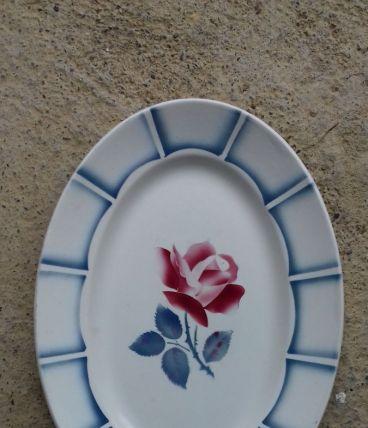 "Grand plat fleuri Digoin Sarreguemines "" Dauphin"""