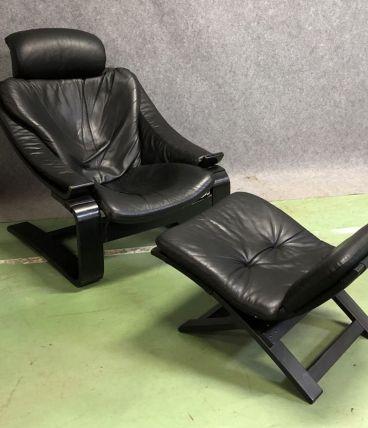 Fauteuil relax Kroken en cuir noir + repose pieds