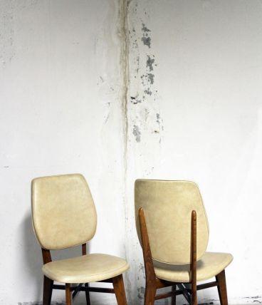 Paire de chaises vintage scandinave pieds compas années 60