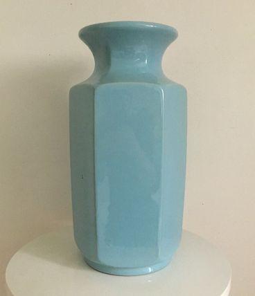 Vase vintage 60's céramique Bleu ciel