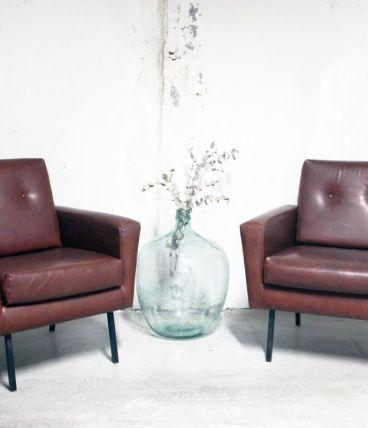 Paire de fauteuils vintage années 50 style P. Guariche