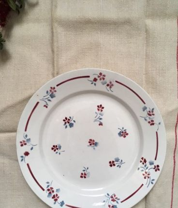 Plat Céranord à fleurs rouges et bleues.