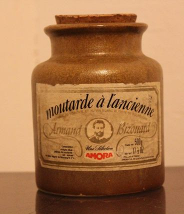 Pot en grès de moutarde à l'ancienne vintage