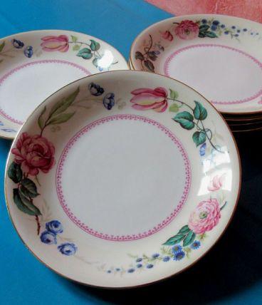 6 assiettes  creuses anciennes en porcelaine de Vierzon