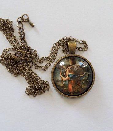 Pendentif Religieux Médaillon Saint MICHEL Image sous Verre