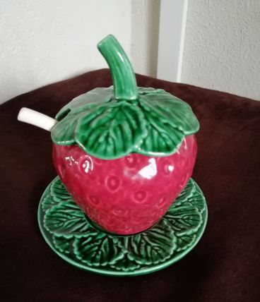 Pot à confiture avec couvercle et cuillère tt en faïence