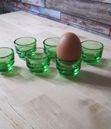 6 Coquetiers en verre  MARQUE LEVER   , Vintage