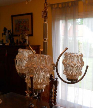 lustre chromé vintage à 3 branches