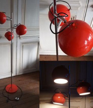 Lampadaire vintage eye ball orange