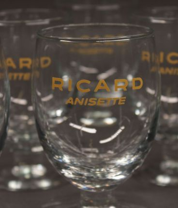 Lot de 6 verres à Ricard anisette lettres jaune