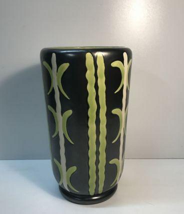 Vase en  céramique noir et vert, style scandinave, année 50s