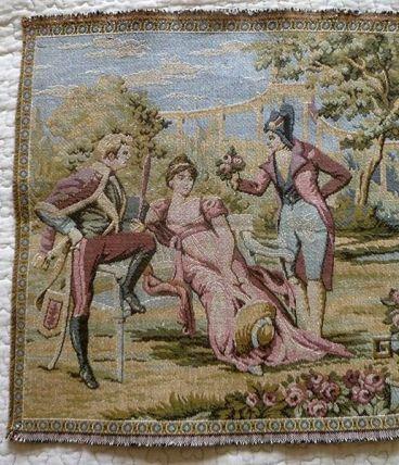 Tapisserie scène de Jardin Romantique , vintage