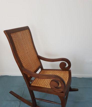 Rocking chair vintage-Bois massif et vannerie