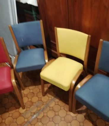 4 chaises Bow Wood Steiner années 50