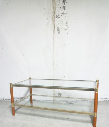 RARE - Table basse vintage LANCEL verre & cuir metal doré