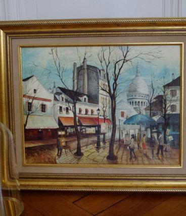 Peinture ancienne sur toile encadrée Paris Montmartre