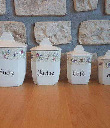 4 pots à condiments vintage
