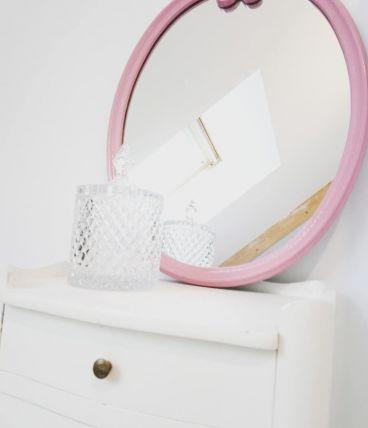 Ensemble miroir et porte serviettes en fonte émaillé