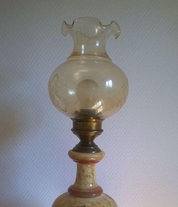 Lampe de salon en céramique vernissée à décor fleuri