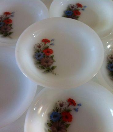 6 assiettes creuses vintage Arcopal