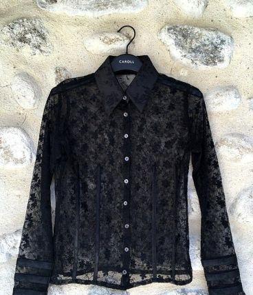 Chemise noire vintage dentelle fleurs transparent ajourée