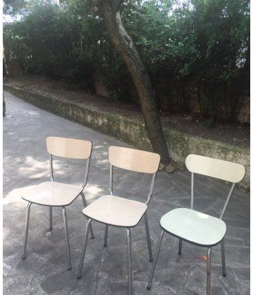 Trio de chaises vintage en formica
