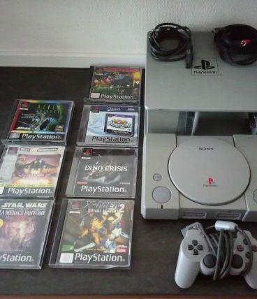 Console de jeux vidéo Sony Ps1 +1 manette + 7 jeux + rack