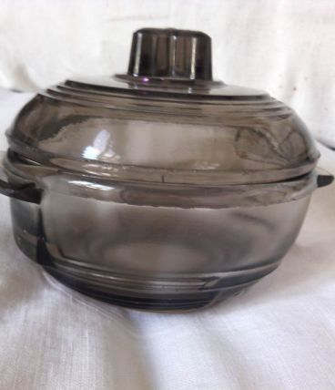 Petite bonbonnière/sucrier en verre fumé 11cm