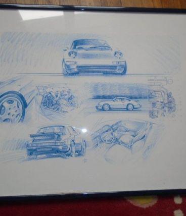Tableau style dessin d'une Porsche 911 style 993 turbo signé