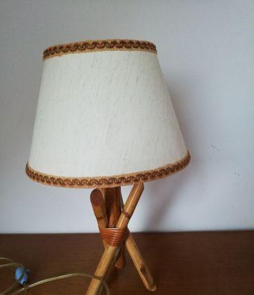 Lampe tripode rotin 60/70