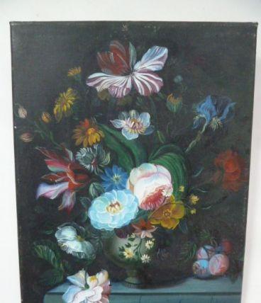 Huile sur toile, bouquet de fleurs 30 x 40 cm, P. Wilson