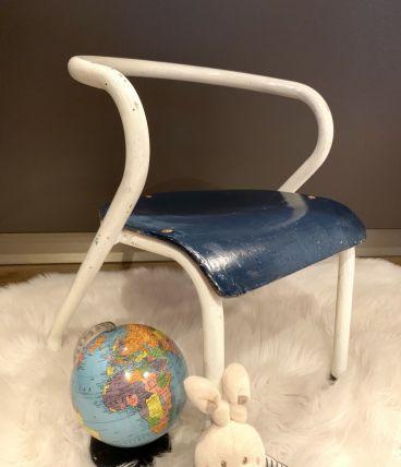 Chaise écolier enfant Jacques Hitier bleue