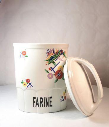 Pot à farine vintage Moderniste en faïence Porelite
