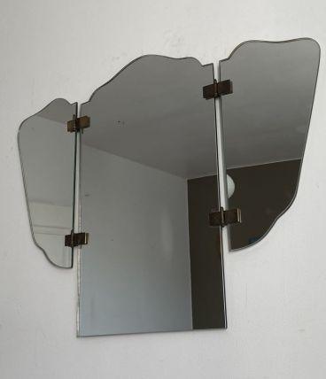 Miroir de barbier triptyque vintage. Période Art déco. 60x80