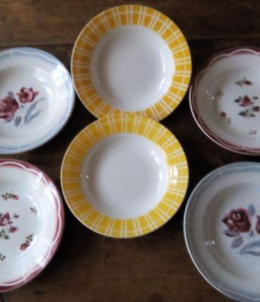 Six assiettes creuses Digoin Sarreguemines