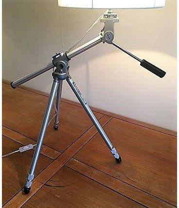 très originale lampe créée s/anc. trépied photo