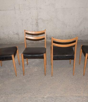 4 chaises scandinaves noires années 1960