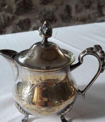 Service café/thé métal argent style Napoléon 3