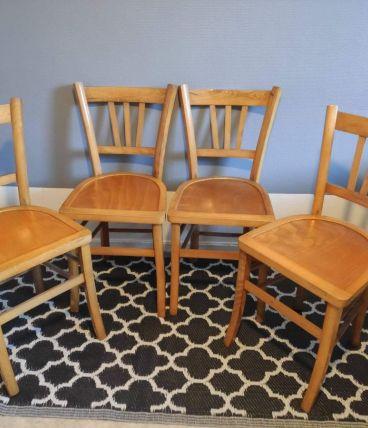 4 chaises de bistrot en bois verni style luterma